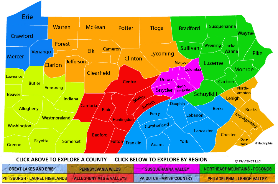 Pennsylvania Regions And Counties Maps: County Maps Of Pa At Slyspyder.com